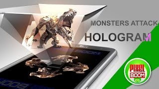 getlinkyoutube.com-MONSTERS ATTACK Screen UP - Pyramid Hologram Technology - PixelBoom CG