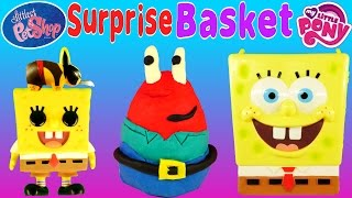 getlinkyoutube.com-SPONGEBOB SURPRISE BASKET - Disney Frozen Princess Mr. Krabs Play Doh Surprise Eggs LPS MLP Toys