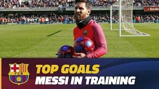 getlinkyoutube.com-Training session goals: Leo Messi