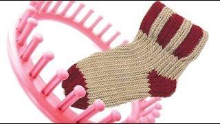 getlinkyoutube.com-How to knit a sock on a round knitting loom socks