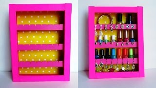 getlinkyoutube.com-DIY Jewelry Holder | Earrings Holder & Nail Polish Rack - Recycling Cardboard Boxes
