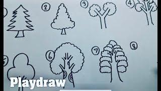 getlinkyoutube.com-สอนวาดต้นไม้หลายสไตล์ง่ายๆ by Playdraw สอนวาด