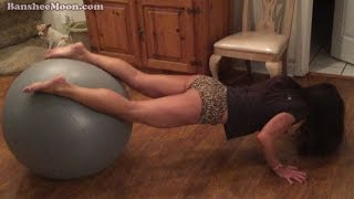 getlinkyoutube.com-Cute, funny, sexy almost 50 year old Farm Girl on fitness ball.