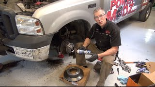 getlinkyoutube.com-Ford F350 Front wheel hub replacement and brake install.  PowerModz!