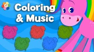 getlinkyoutube.com-Clocks and Watch | Coloring & Music | Rainbow Horse | BabyFirst TV