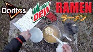 getlinkyoutube.com-Cooking Doritos & Mountain Dew Ramen in the woods! (ドリトス マウンテンデュー ラーメン)