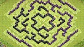 getlinkyoutube.com-Clash of Clans | TH9 Farming Base (Labyrinth)
