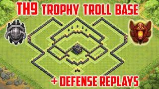 Clash of Clans - Best TH9 Trophy Base | Build + Defense Replays | Town Hall 9 Troll Base
