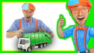 getlinkyoutube.com-Garbage Truck with Blippi Toys | Educational Toy Videos for Children
