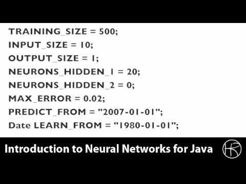 Introduction to Neural Networks for Java (Class 11/16, Part 2/5) predict stock market