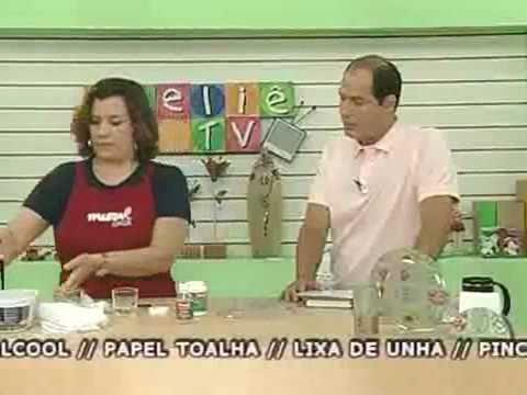 Gislene no Ateliê na TV - Decoupage em pratos