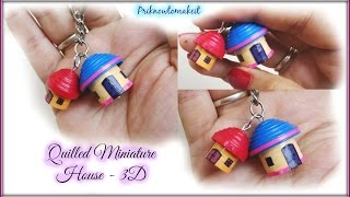 getlinkyoutube.com-Quilling miniature House in 3D | DIY Craft | key chain / bracelet charm