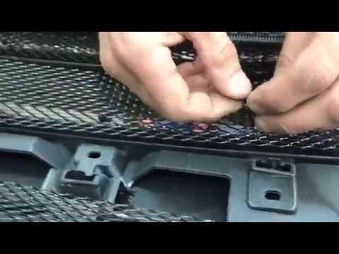 Установка сетки в бампер и решетку со снятием бампера на авто Мицубиси Аутлендер
