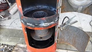 getlinkyoutube.com-Make a great waste oil and wood burning stove heater (part 3)