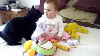 getlinkyoutube.com-Fussy Cat and excited baby