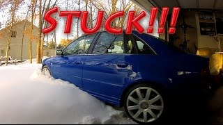 "500 hp Audi S4 quattro vs 13""+ of fresh snow part II! Unstoppable...ALMOST"