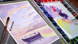 getlinkyoutube.com-Fishing Boat Watercolor Sunset {REAL TIME painting tutorial}