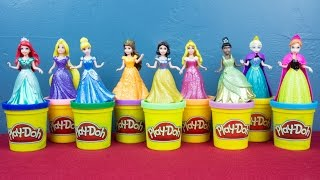 Ariel Elsa Anna Rapunzel Cinderella Snow White Aurora Tiana Belle Disney Princess Play Doh Dress Up