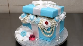 getlinkyoutube.com-Tiffany Gift Box Pearls and Diamonds Cake/Tarta Caja Regalo con Diamantes y Perlas