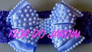 getlinkyoutube.com-Laço de fita de cetim com meia pérolas e dobras - Satin ribbon bow