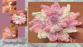 getlinkyoutube.com-Crochet Small Petal Flower Урок 73 Цветок с маленькими лепестками