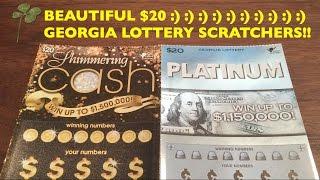 getlinkyoutube.com-FIRST TIME $20 GEORGIA SCRATCHER Platinum Shimmering Cash $20 Georgia Lottery Scratcher