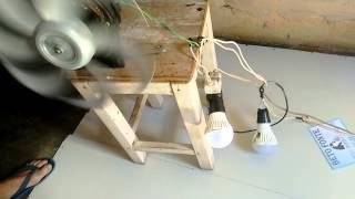 getlinkyoutube.com-Gerador de energia feito de ventilador (prototico)