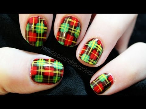 Christmas Flannel PJs Inspired Nail Art