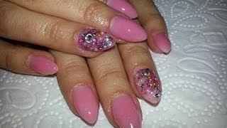 getlinkyoutube.com-Nude Almond Shaped Acrylic Nails