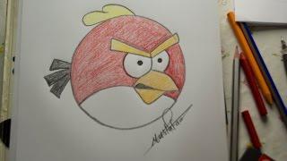 getlinkyoutube.com-تعلم الرسم - الدرس الرابع كيفية رسم الطيور الغاظبة Angry Bird بالرصاص والالوان مع الخطوات للمبتدئين