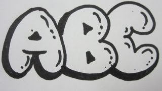getlinkyoutube.com-How To Draw Bubble Letters - All Capital Letters