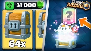 Clash Royale - 64 GIANT CHESTS OPENING! MASSIVE 31000 GEMS LEGENDARY HUNTING! INSANE CHEST GEMMING!