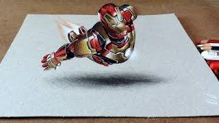 getlinkyoutube.com-Drawing Iron Man 3D | Desenhando Homem de Ferro com efeito3D