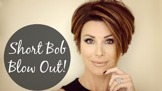 getlinkyoutube.com-Short Bob Blow Out For Sleek Volume!