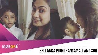 Piumi Hansamali And Son පියුමි අක්කයි පුතයි