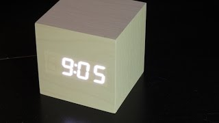 Wood cube LED alarm clock review/setup