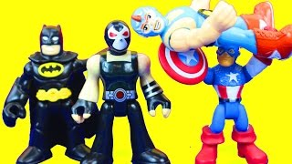 getlinkyoutube.com-Imaginext Wrestler and Bane take on Gotham City Poilice Batman Captain America DC Superhero Toys
