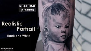 getlinkyoutube.com-Black and grey #tattoo techniques shading - #portrait #REALISTIC - REAL TIME - How to make