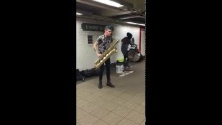 █▬█ █ ▀█▀   This is TALENT!!! Saxophone, drum, union square