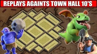 TH9 EPIC Town Hall 9 War Base | Replays vs MAX TH10 TROOPS - 2016 UPDATE