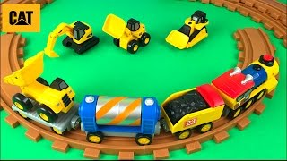 getlinkyoutube.com-CAT MIGHTY MACHINES DUMP TRUCK EXCAVATOR BULLDOZER - PRESCHOOL EXPRESS TRAIN COAL & CAR CARRYING