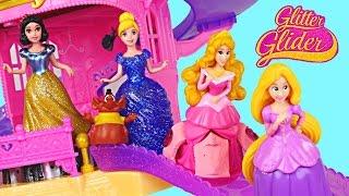 getlinkyoutube.com-Princess Glitter Castle Gliders  Disney Princesses Magiclip Toys Cinderella Snow White Rapunzel DCTC
