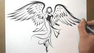 getlinkyoutube.com-How to Draw an Angel - Tribal Tattoo Design Style