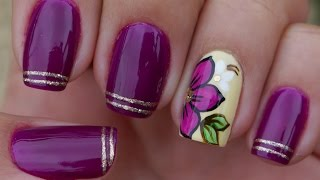 getlinkyoutube.com-Unhas Roxas Decorada na Filha Única Manual Bela e Simples