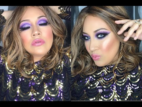 Christmas Glam Makeup Tutorial | Purples Smokey Glitter Eyes