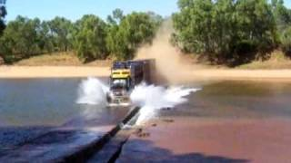 getlinkyoutube.com-Road Train going flat-out over a river crossing - Western Australia