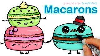 getlinkyoutube.com-How to Draw Macarons Cute step by step Sweet Cartoon Desserts