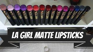 getlinkyoutube.com-NEW LA GIRL MATTE LIPSTICKS     ALL 15 SHADES - LIP SWATCHES