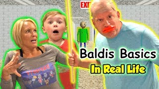 Baldi's Basics Game in Real Life! Does Baldi Get Us? | DavidsTV