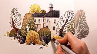 "getlinkyoutube.com-Watercolor Illustration ""House with garden"" with colored pencils speed painting by Iraville"